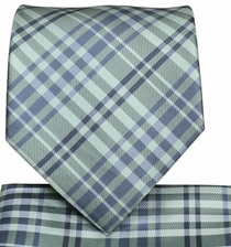 Aqua Plaid Necktie and Pocket Square Set