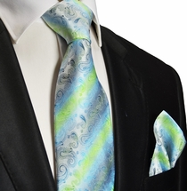 Aqua Silk Tie and Pocket Square . Paul Malone Red Line