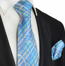 Aquamarine Striped Silk Tie Set by Paul Malone Red Line