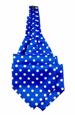 Ascot Tie and Pocket Square . Blue and White Polka Dots (A44-2)