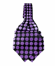 Ascot Tie and Pocket Square . Purple and Black Polka Dots (A202-HotPink/Black)