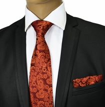 Auburn Paisley Silk Tie Set . Paul Malone Red Line