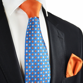Azure Blue and Orange Contrast Knot Tie Set