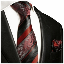 Baked Apple Red and Black Paul Malone Silk Tie Set