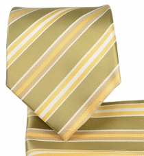 Beige Striped Necktie and Pocket Square