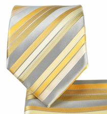 Beige Striped Necktie and Pocket Square Set