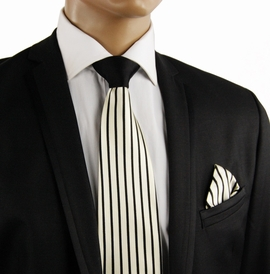 Black a. Cream Contrast Knot Silk Tie by Steven Land