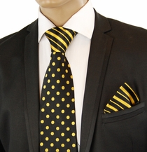 Black a. Gold Contrast Knot Silk Tie Set by Steven Land