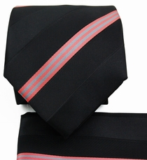 Black a. Salmon Striped Necktie Set (Q506-V)