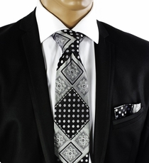 Black a. Silver Tie a. Pocket Square w. Crystals (C72-2)