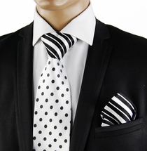 White a. Black Contrast Knot Silk Tie by Steven Land