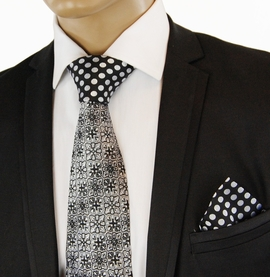Black a. White Contrast Knot Silk Tie Set by Steven Land