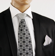 Black a. White Contrast Knot Tie by Steven Land