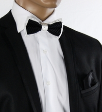 Black a. White Crystal Bow Tie Set . Silk (C1PT-1)