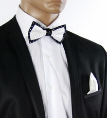 Black a. White Crystal Bow Tie Set . Silk (C1PT-2)
