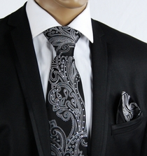 Black a. White Silk Tie Set with Crystals (C71-1)