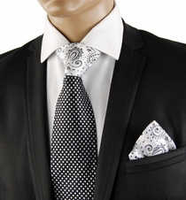 Black a. White Steven Land Contrast Knot Silk Tie Set