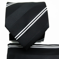 Black a. White Striped Tie a. Pocket Square (Q506-F)