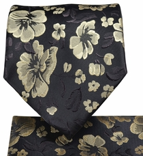 Black and Beige Floral Tie and Pocket Square Set