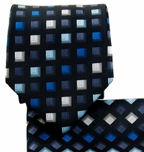 Black and Blue Necktie and Pocket Square Set (Q570-F)