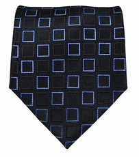 Black and Blue Paul Malone Silk Necktie (966)