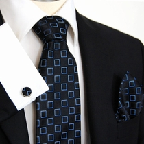 Black and Blue Paul Malone Silk Necktie Set (966CH)