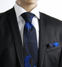 Black and Blue Steven Land Silk Tie Set with Crystals (CR503)