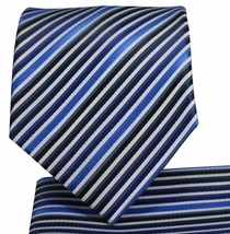 Black and Blue Striped Necktie and Pocket Square Set (Q576-C)