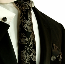 Black and Brown Silk Necktie Set by Paul Malone (584CH)