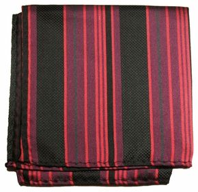 Black and Burgundy Silk Pocket Square (H515)