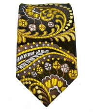 Black and Curry Slim Tie by Paul Malone . 100% Silk