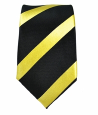 Black and Gold Slim Necktie . 100% Silk