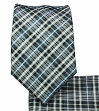 Black and Gray Plaid Slim Necktie and Pocket Square Set (Q129)