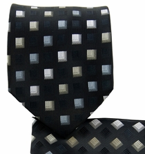 Black and Grey Necktie and Pocket Square Set (Q570-B)