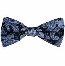 Black and Grey Paisley Cotton Bow Tie by Paul Malone