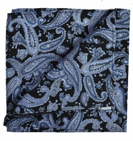 Black and Grey Paisley Cotton Pokcet Square by Paul Malone