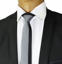Black and Grey Panel Slim Tie