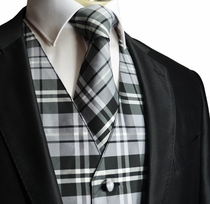 Black and Grey Plaid Vest and Necktie
