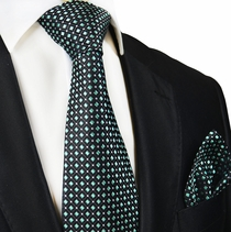 Black and Mint Paul Malone Silk Tie and Pocket Square
