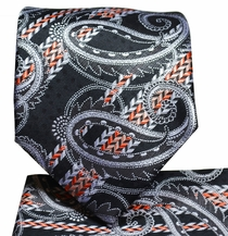 Black and Orange Paisley Tie and Pocket Square