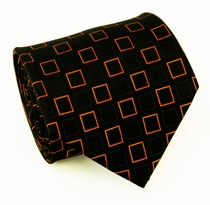 Black and Orange Paul Malone Silk Necktie (956)