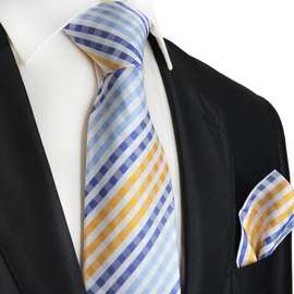 Blue and Orange Paul Malone Silk Tie and Pocket Square