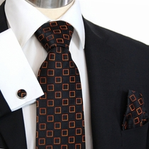Black and Orange Paul Malone Silk Necktie with Pocket Square and Cufflinks (956CH)