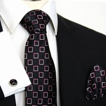 Black and Pink Paul Malone Silk Necktie Set (964CH)