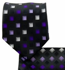 Black and Purple Necktie and Pocket Square (Q570-A)