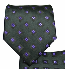 Black and Purple Necktie and Pocket Square Set