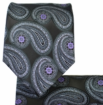 Black and Purple Paisley Necktie Set