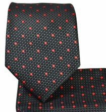 Black and Red Necktie and Pocket Square Set