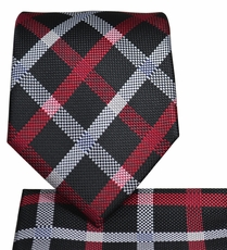 Black and Red Plaid Necktie and Pocket Square