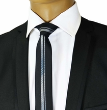 Black and Silver Panel Slim Tie